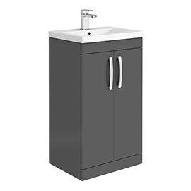 Brooklyn 500mm Gloss Grey Vanity Unit - Floor Standing 2 Door Unit