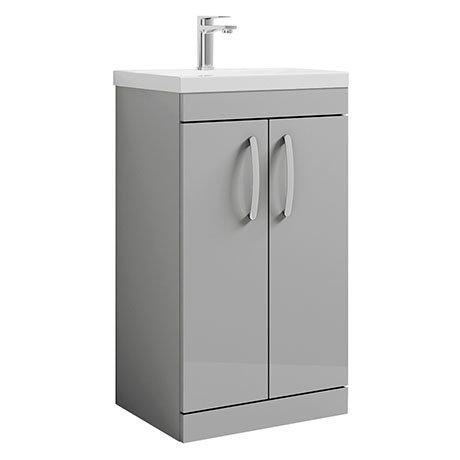 Brooklyn 500 Grey Mist Floor Standing Vanity Unit with Thin-Edge Basin