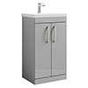 Brooklyn 500 Grey Mist Floor Standing Vanity Unit with Thin-Edge Basin profile small image view 1