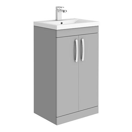 Brooklyn 500mm Grey Mist Vanity Unit - Floor Standing 2 Door Unit