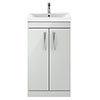 Brooklyn 500mm Grey Mist Vanity Unit - Floor Standing 2 Door Unit profile small image view 1