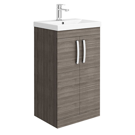 Brooklyn 500 Grey Avola Floor Standing Vanity Unit with Thin-Edge Basin