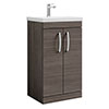 Brooklyn 500 Grey Avola Floor Standing Vanity Unit with Thin-Edge Basin profile small image view 1