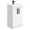 Brooklyn Gloss White Vanity Unit - 500mm Wide with Matt Black Handles profile small image view 1