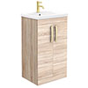 Brooklyn 500mm Natural Oak Vanity Unit with Brushed Brass Handles profile small image view 1