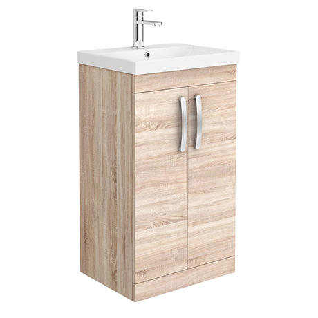 Brooklyn 500 Natural Oak Floor Standing Vanity Unit with Thin-Edge Basin