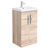 Brooklyn 500 Natural Oak Floor Standing Vanity Unit with Thin-Edge Basin profile small image view 1