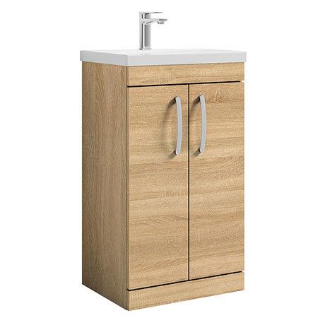 Brooklyn 500 Natural Oak Floor Standing Vanity Unit with Thin-Edge Basin