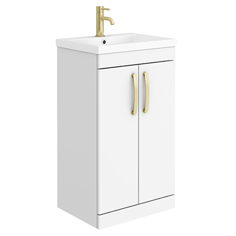Brooklyn 500mm Gloss White Vanity Unit with Brushed Brass Handles