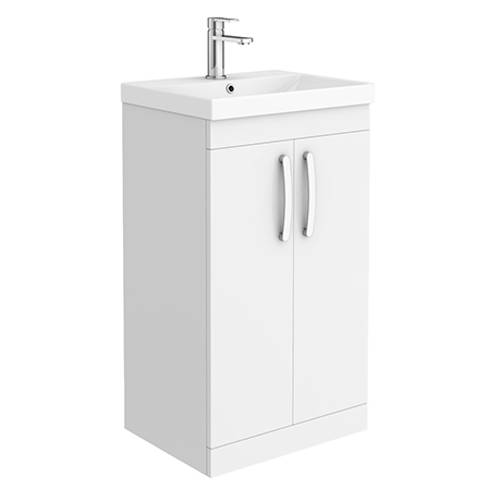 Brooklyn 500 Gloss White Floor Standing Vanity Unit with Thin-Edge Basin