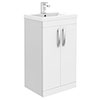 Brooklyn 500mm White Gloss Vanity Unit - Floor Standing 2 Door Unit profile small image view 1
