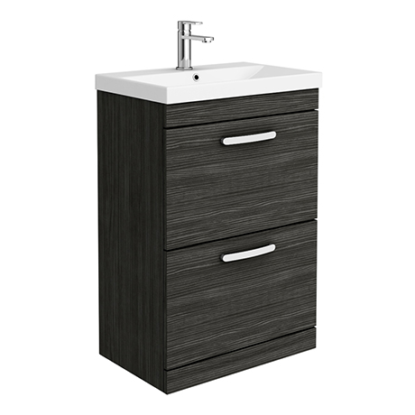 Brooklyn 600 Black Floor Standing 2 Drawer Vanity Unit with Thin-Edge Basin