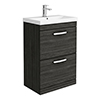 Brooklyn 600 Black Floor Standing 2 Drawer Vanity Unit with Thin-Edge Basin profile small image view 1