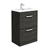 Brooklyn 600mm Black Vanity Unit - Floor Standing 2 Drawer Unit profile small image view 1