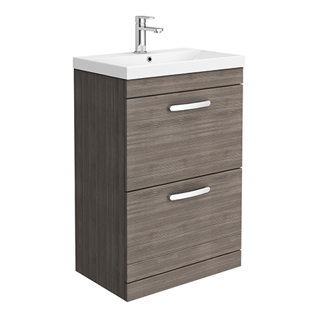 Brooklyn 600 Grey Avola Floor Standing 2 Drawer Vanity Unit with Thin-Edge Basin