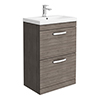 Brooklyn 600 Grey Avola Floor Standing 2 Drawer Vanity Unit with Thin-Edge Basin profile small image view 1