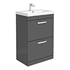 Brooklyn 600 Gloss Grey Floor Standing 2 Drawer Vanity Unit with Thin-Edge Basin profile small image view 1