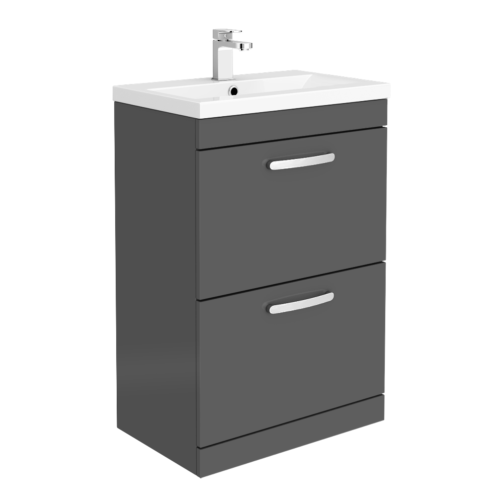 Brooklyn 600mm Gloss Grey Vanity Unit - Floor Standing 2 Drawer Unit