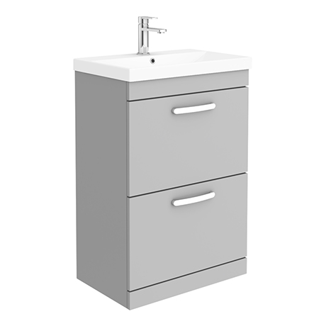 Brooklyn 600 Grey Mist Floor Standing 2 Drawer Vanity Unit with Thin-Edge Basin