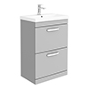 Brooklyn 600 Grey Mist Floor Standing 2 Drawer Vanity Unit with Thin-Edge Basin profile small image view 1