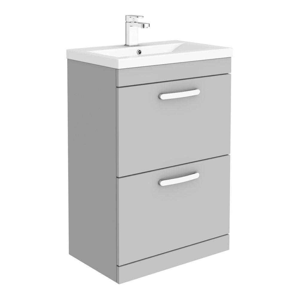 Brooklyn 600mm Grey Mist Vanity Unit - Floor Standing 2 Drawer Unit