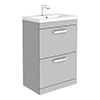 Brooklyn 600mm Grey Mist Vanity Unit - Floor Standing 2 Drawer Unit profile small image view 1