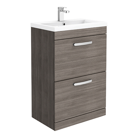 Brooklyn 600mm Grey Avola Vanity Unit - Floor Standing 2 Drawer Unit
