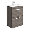 Brooklyn 600mm Grey Avola Vanity Unit - Floor Standing 2 Drawer Unit profile small image view 1