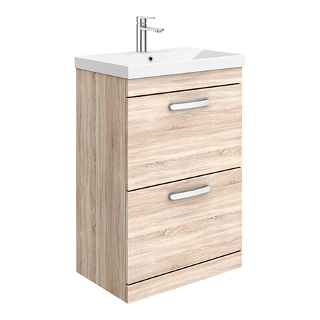 Brooklyn 600 Natural Oak Floor Standing 2 Drawer Vanity Unit with Thin-Edge Basin