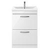 Brooklyn 600mm Gloss White Vanity Unit - Floor Standing 2 Drawer Unit profile small image view 1