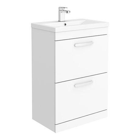 Brooklyn 600mm Gloss White Vanity Unit - Floor Standing 2 Drawer Unit