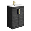 Brooklyn 600mm Black Vanity Unit with Brushed Brass Handles profile small image view 1