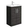 Brooklyn 600 Black Floor Standing Vanity Unit with Thin-Edge Basin profile small image view 1