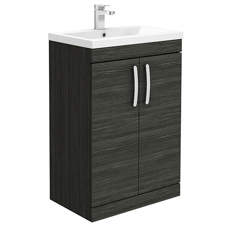 Brooklyn 600mm Black Vanity Unit - Floor Standing 2 Door Unit