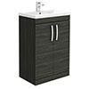 Brooklyn 600mm Black Vanity Unit - Floor Standing 2 Door Unit profile small image view 1
