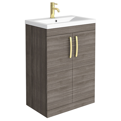 Brooklyn 600mm Grey Avola Vanity Unit with Brushed Brass Handles