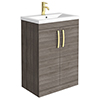 Brooklyn 600mm Grey Avola Vanity Unit with Brushed Brass Handles profile small image view 1
