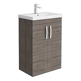 Brooklyn 600 Grey Avola Floor Standing Vanity Unit with Thin-Edge Basin