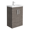 Brooklyn 600 Grey Avola Floor Standing Vanity Unit with Thin-Edge Basin profile small image view 1
