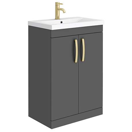 Brooklyn 600mm Gloss Grey Vanity Unit with Brushed Brass Handles