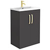 Brooklyn 600mm Gloss Grey Vanity Unit with Brushed Brass Handles profile small image view 1
