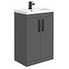 Brooklyn Gloss Grey Vanity Unit - 600mm Wide with Matt Black Handles profile small image view 1