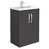 Brooklyn 600mm Gloss Grey Vanity Unit - Floor Standing 2 Door Unit profile small image view 1