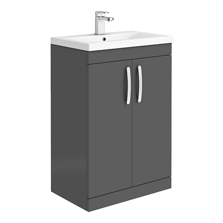 Brooklyn 600mm Gloss Grey Vanity Unit - Floor Standing 2 Door Unit