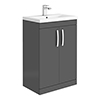 Brooklyn 600mm Gloss Grey Vanity Unit - Floor Standing 2 Door Unit profile small image view 1