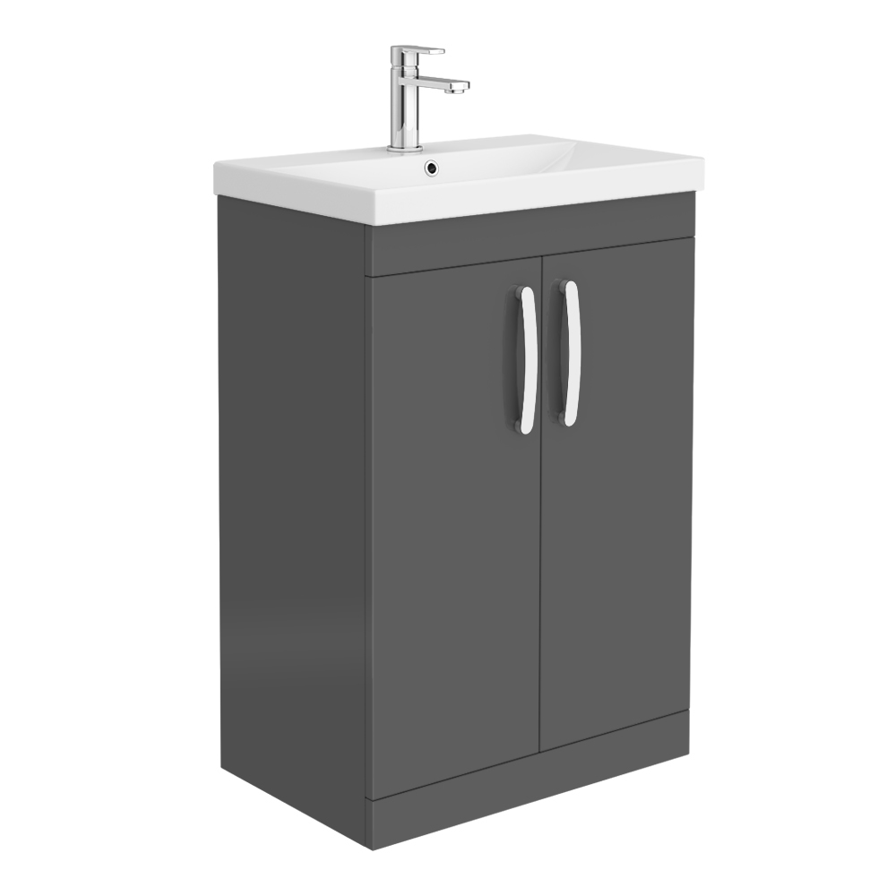 Brooklyn 600 Gloss Grey Floor Standing Vanity Unit with Thin-Edge Basin