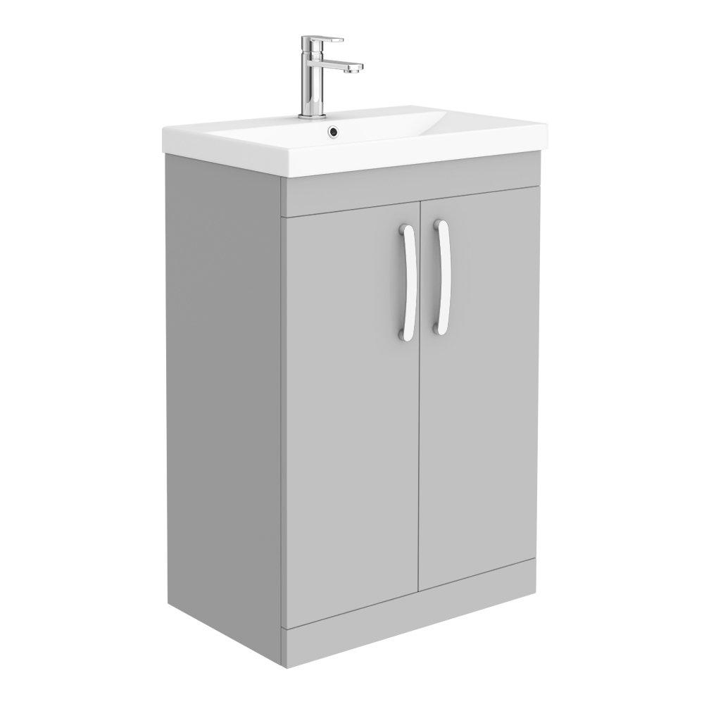Brooklyn 600 Grey Mist Floor Standing Vanity Unit with Thin-Edge Basin