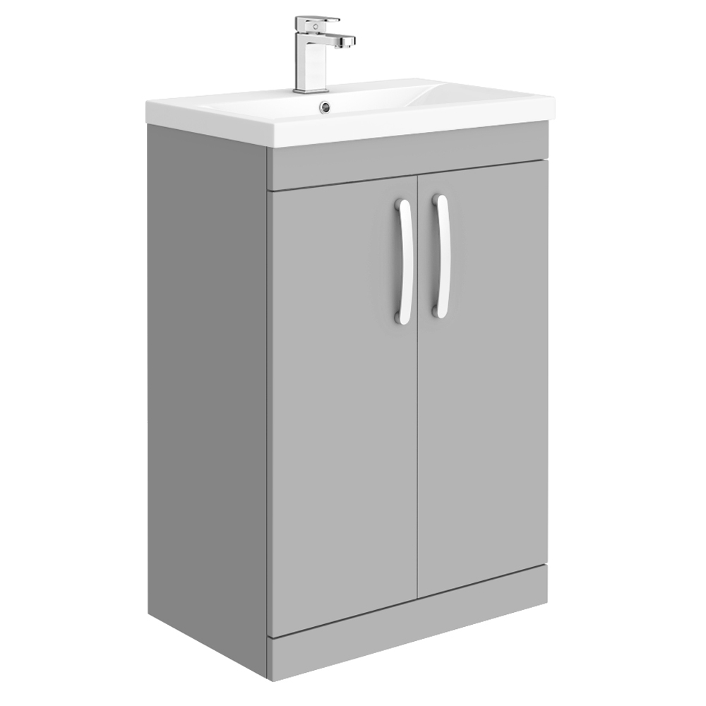 Brooklyn 600mm Grey Mist Vanity Unit - Floor Standing 2 Door Unit