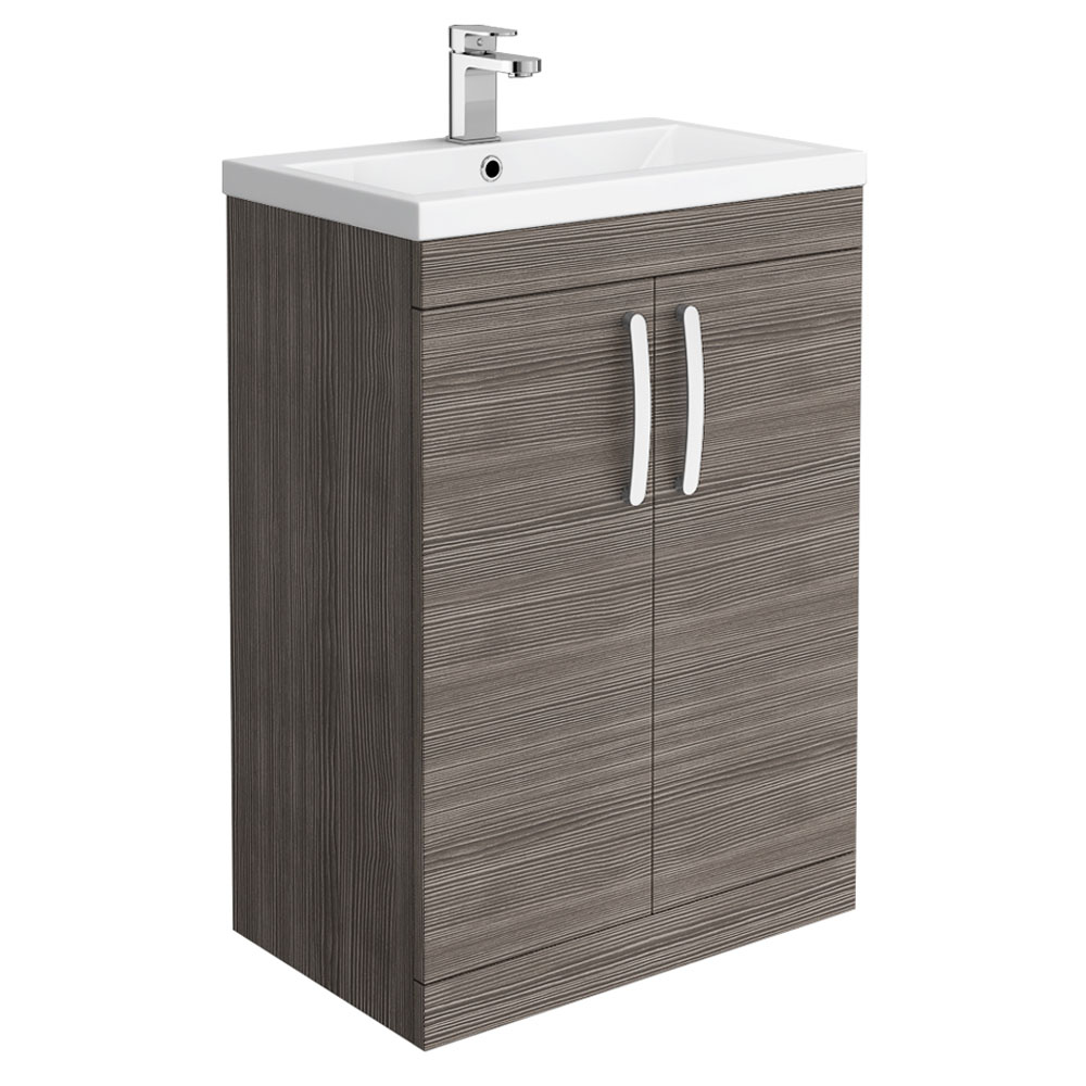 Brooklyn 600mm Grey Avola Vanity Unit - Floor Standing 2 Door Unit | Brands in Focus: Brooklyn Bathrooms