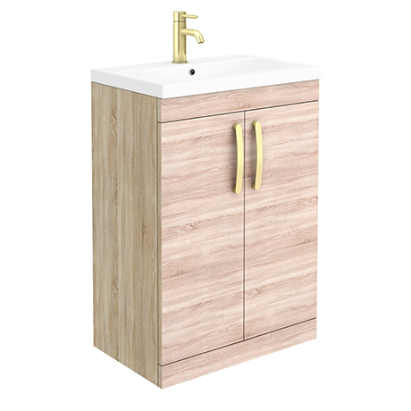 Brooklyn 600mm Natural Oak Vanity Unit with Brushed Brass Handles